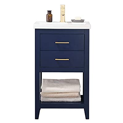 "LUCA Kitchen & Bath LC20FBP Dublin 20"" Bathroom Vanity Set in Midnight Blue with Integrated Porcelain Top - Fully-assembled solid hardwood cabinet measures 20. 4-inch wide by 15. 7-inch deep by 34-inch tall in semi-gloss finish with water resistant low V. O. C Sealer Porcelain integrated countertop and sink with overflow and centerset 1-hole faucet mount. (Drains and Faucet are not included) pull-down soft-closing drawers with wooden tip-out tray and 1 functional dovetail jointed soft-closing drawers with rectangular shape satin Brass hardware - bathroom-vanities, bathroom-fixtures-hardware, bathroom - 31ZVcZBl HL. SS400  -"