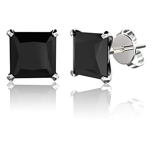 .925 Sterling Silver Hypoallergenic Black Cubic Zirconia Princess-Cut Stud Earrings, 4mm