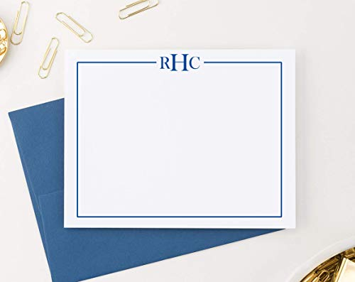 3 Letter Monogram Stationery Set for Men or Women FLAT NOTE CARDS, Monogrammed Note cards with Envelopes, Monogrammed Stationary Set PROFESSIONAL, Your Choice of Colors and Quantity