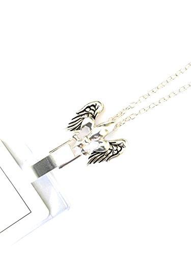 Itsalotalike Lanyard Fleur De Lis Silver Tone Set in Angel Wings