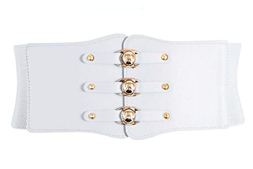 80s Vintage Cinch - Nanxson Women Vintage PU Leather Double-breasted Wide Obi Waist Band/Belt PDW0077 (white)