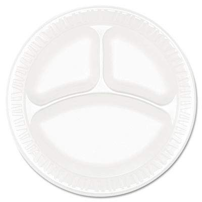 """Price comparison product image Dart 9CPWCR Concorde Foam Plate,  3-Comp,  9"""" dia,  White,  Pack of 125 (Case of 4)"""