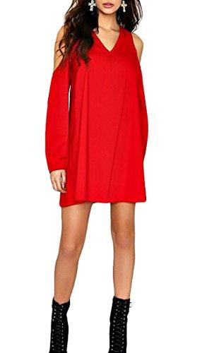 Jaycargogo Dress Shoulder Casual Loose Chiffon Red Sleeve Women Long Cold BrA6qB