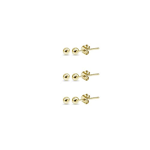 14K Yellow Gold 2mm Polished Tiny Ball Bead Unisex Stud Earrings, Set of 3 Pairs