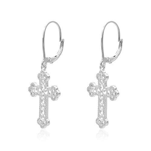 (Sterling Silver Diamond-Cut Filigree Cross Leverback Dangle Earrings)