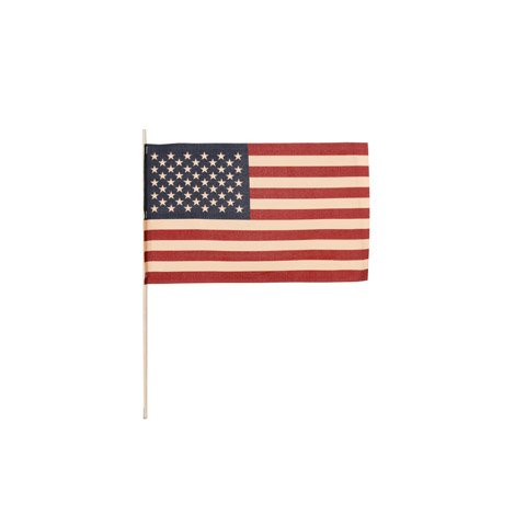 United States Tea-Stained Stick Flag: Bulk 4 x 6 Inches American Hand Flag (1 Dozen)