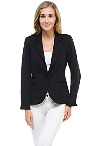 Auliné Collection Women's Candy Color Long Sleeve Lined Blazer Black Small (Fitted Jacket Juniors)