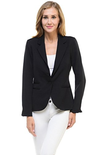Auliné Collection Women's Color Work Office Long Sleeve Button Lined Blazer Black Medium