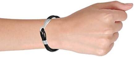 Fashion Boho Large Eye Hook Clasp Multi Strand Black Genuine Leather Bracelet for Men for Women Silver Tone Stainless
