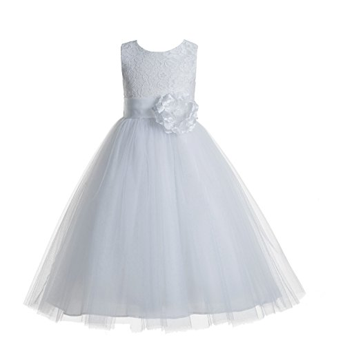 ekidsbridal Floral Lace Heart Cutout White Flower Girl Dresses White First Communion Dress Baptism Dresses 172T 6