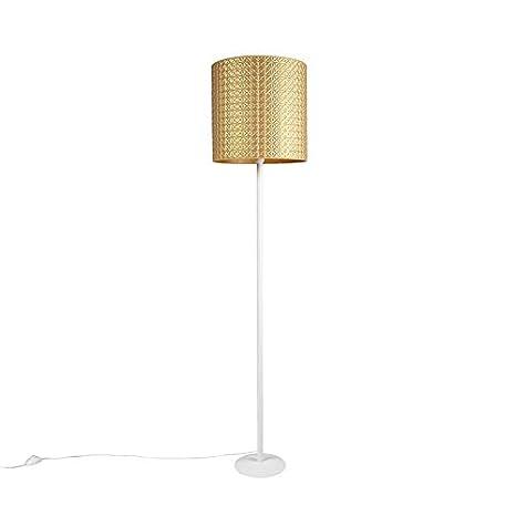 QAZQA Moderno Lámpara de pie vintage blanca con pantalla ...