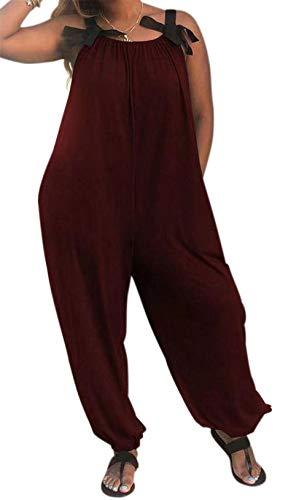 (LAMISSCHE Womens Casual Solid Color Loose Fit Baggy Harem Overall Jumpsuit Sleeveless Spaghetti Strap Long Pants Rompers(Wine Red,L) )