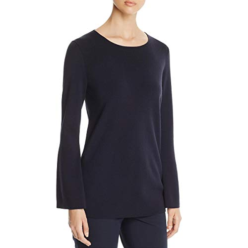 Lafayette 148 New York Womens Knit Flare Sleeves Pullover Top Black P