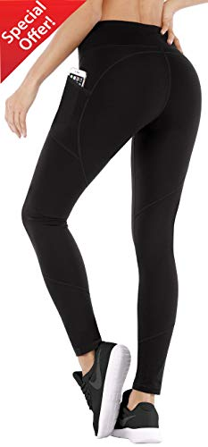 Ewedoos Yoga Pants Women Leggings with Pockets High Waist Tummy Control Workout Pants for Women (EW330 Black, Large)
