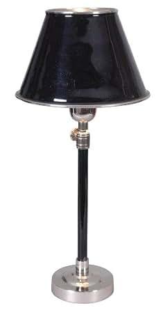 Naeve Leuchten 3014922 - Lámpara de mesa (níquel y metal, altura regulable de 46 a 60cm, diámetro de la pantalla de 20cm, diámetro del pie de 10cm, no incluye bombilla), color negro
