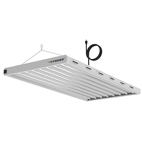 VIVOSUN 6500K 4FT T5 HO Fluorescent Grow Light Fixture for Indoor Plants, UL Listed High Output Fluorescent Tubes, 8 Lamps