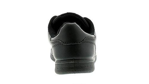 Jungen PU Ober, Tripple Klettverschluss Verschluss Trainer Gepolsterter Kragen, auszeichnend Punch Detail zu dem Seite und A einfarbig Zeh - schwarz - UK Größen 1-13 - Schwarz, EU 33