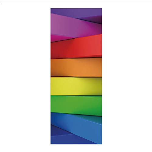 (3D Decorative Film Privacy Window Film No Glue,Rainbow,3D Stacked Panels with Colors of a Rainbow Computer Generated Artwork Vibrant Tones,Multicolor,for Home&Office)