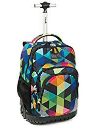 Tilami Rolling Backpack Armor Luggage School Travel Book Laptop 18 Inch Multifunction Wheeled Backpack for Students ... (Blue Geometric 1) by Tilami
