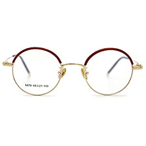 Natwve&Co Smart Size Vintage Eyewear Colorful Retro Designer Glasses for women men (5879) (Pearl Red with Gold)