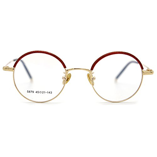 Natwve&Co Smart Size Vintage Eyewear Colorful Retro Designer Glasses for women men (5879) (Pearl Red with (Gold Fancy Pearl)