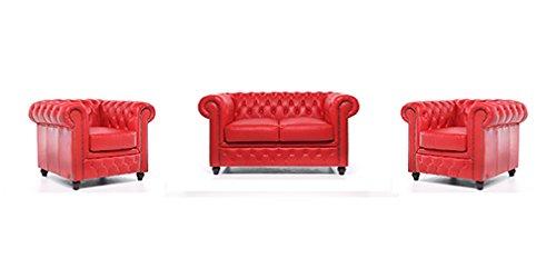 Conjunto Sofás Chester -Rojo - 1/1/2 plazas - Auténtic ...
