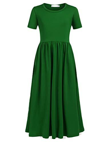 Balasha Girls Short Sleeve Dress Summer Long Maxi Dress with Pockets]()