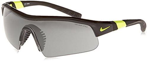 Nike Show X1 Pro Sunglasses, Black/Voltage, Grey with Silver Flash/Outdoor - Tennis Sunglasses Nike