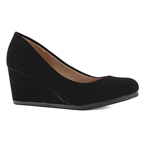 Womens Classic Office Comfortable Soft Wedge - Mid Low Heel Round Toe Dress Pumps (7.5 M US, Black Nubuck) ()