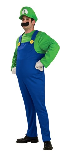 Super Mario Luigi Deluxe Adult Costumes (Super Mario Brothers Deluxe Luigi Costume, Blue/Green, Small)