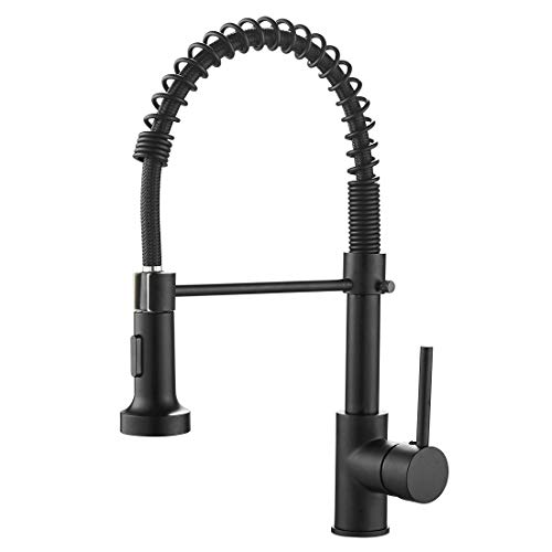 (OWOFAN Lead-Free Commercial Solid Brass Single Handle Single Lever Pull Out Pull Down Sprayer Spring Kitchen Sink Faucet, Paint Black Kitchen Faucets 9009R-A)
