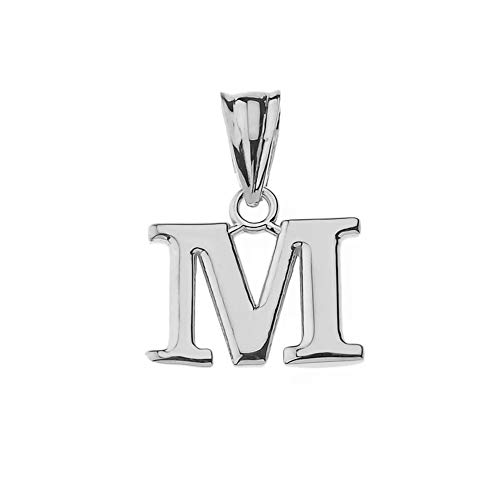 - Fine Personalized Initial M Charm Pendant in Solid Sterling Silver