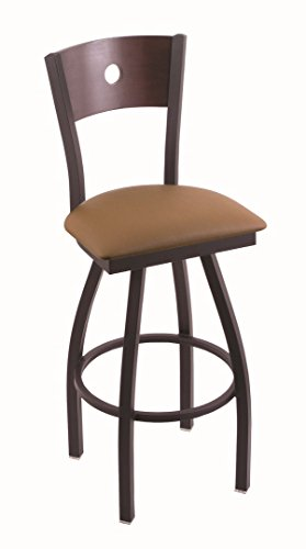 "Holland Bar Stool Co. 830 Voltaire 36"" Bar Stool with Black Wrinkle Finish, Dark Cherry Maple Back and Swivel Seat, Allante Beechwood"