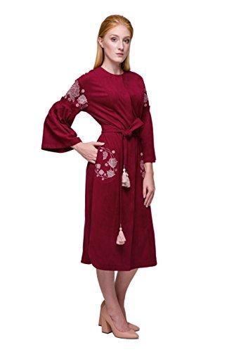 Women's Linen Caftan Ethnic Evening Dress (Red) - 7