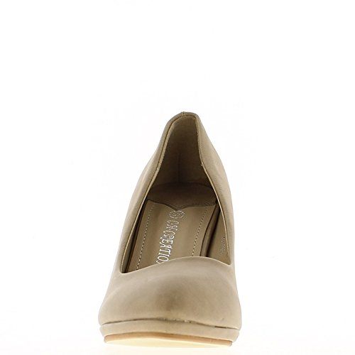 ChaussMoi Zapatos de Mujeres Taupe Agudo Tacón DE 8,5 cm