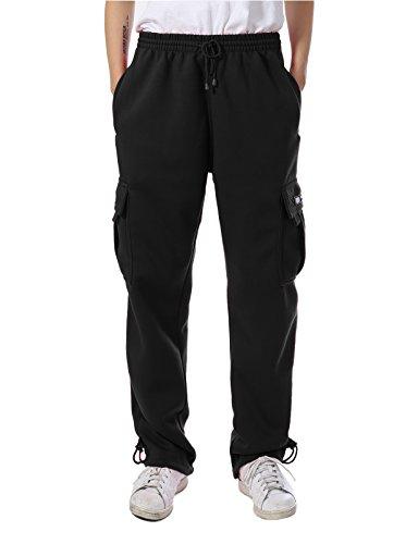 JD Apparel Mens Regular Fit Premium Fleece Cargo Pants M Black