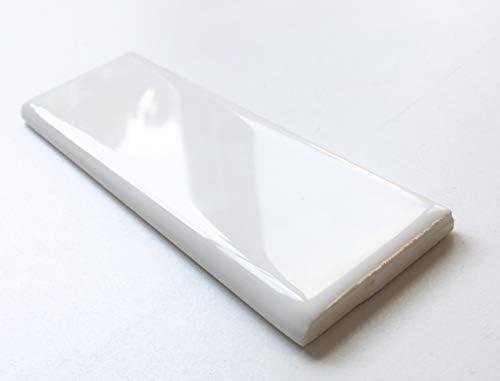 2x6 ホワイトブルノーズ、スクエアフィートデポ3x6または4x4ウォールタイル用。