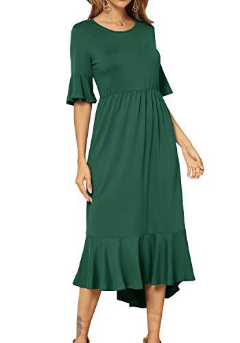 levaca Women's Plain Casual Empire Waist Ruffles Hem Flowy Midi Dress Green -