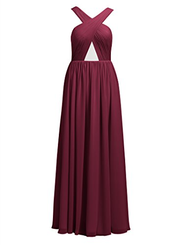 Chiffon Dresses Backless Alicepub Prom Homecoming Bridesmaid Strap Gowns Burgundy Cross Long Evening Party pxHAIqwE