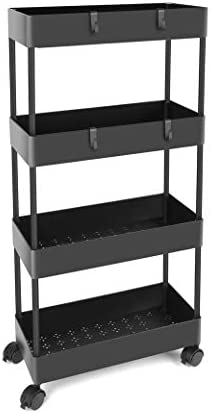 BASSTOP Storage Cart 4 Tier Bathroom Storage Organizer Rolling Utility Cart, Slide Out Storage Shelves Mobile Shelving Unit for Bathroom Kitchen Bedroom Laundry Narrow Places, Black