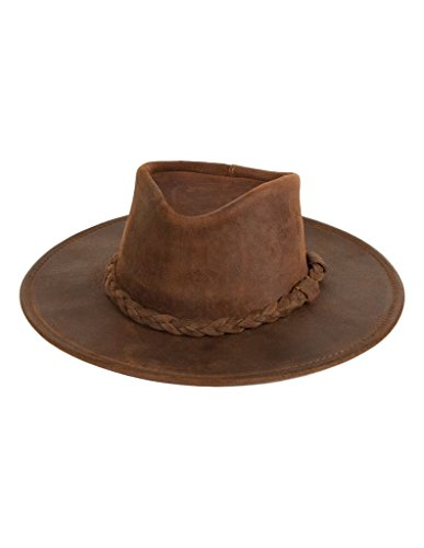 (Minnetonka Unisex Outback Hat, Brown Ruff Leather, Medium)