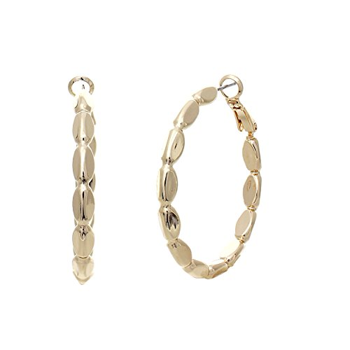 - Rosemarie Collections Hypoallergenic Textured Hoop Earrings (Gold)