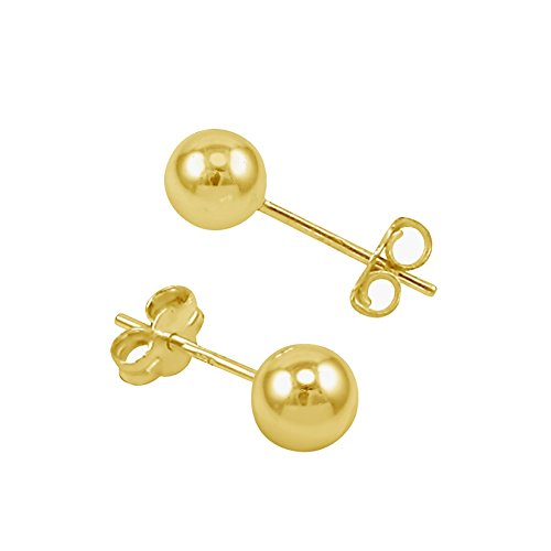 14K Yellow Gold Filled Round Ball Stud Earrings Pushback (Gold Gold Plated Stud)