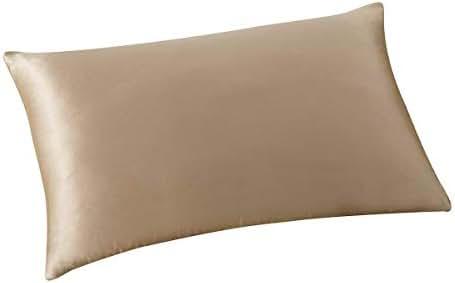ALASKA BEAR - Natural Silk Pillowcase, Hypoallergenic, 19 Momme, 600 Thread Count 100 Percent Mulberry Silk, Standard Size with Hidden Zipper (1, Light Coffee)