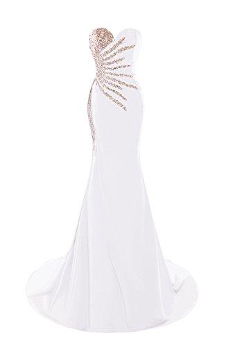 Bess Robes De Bal De Mariée Sirène Longue Sexy Perles De Femmes Robes De Soirée Blanche