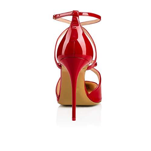 rouge sandales habillées 37 Sun Escarpins femmes pression boutons cheville talons Huijie boucle entrecroisée boucle couleur pour avec rose à taille q7qHS
