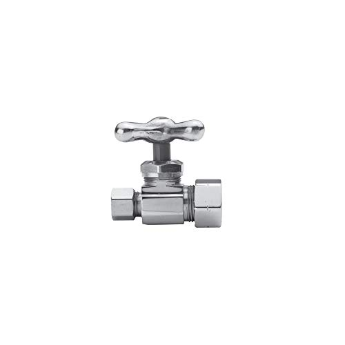 Brasstech 412X 1/4 Turn Traditional Ceramic Disc Straight Valve with Cross Handl, Polished Chrome