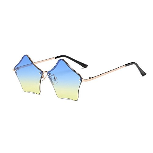 MINCL/Super Cute Star Shape Rimless Sunglasses Metal Frame Transparent Candy Color Eyewear (gold-blue) -