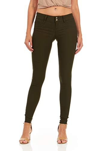 V.I.P. JEANS Women's Soft Stretchy White Black red Navy Khaki Pants, Olive Green, 15 ()