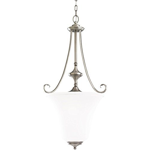- Sea Gull Lighting 51380-965 3-Light Hall and Foyer Fixture, Satin Etched Glass Shade and Antique Brushed Nickel